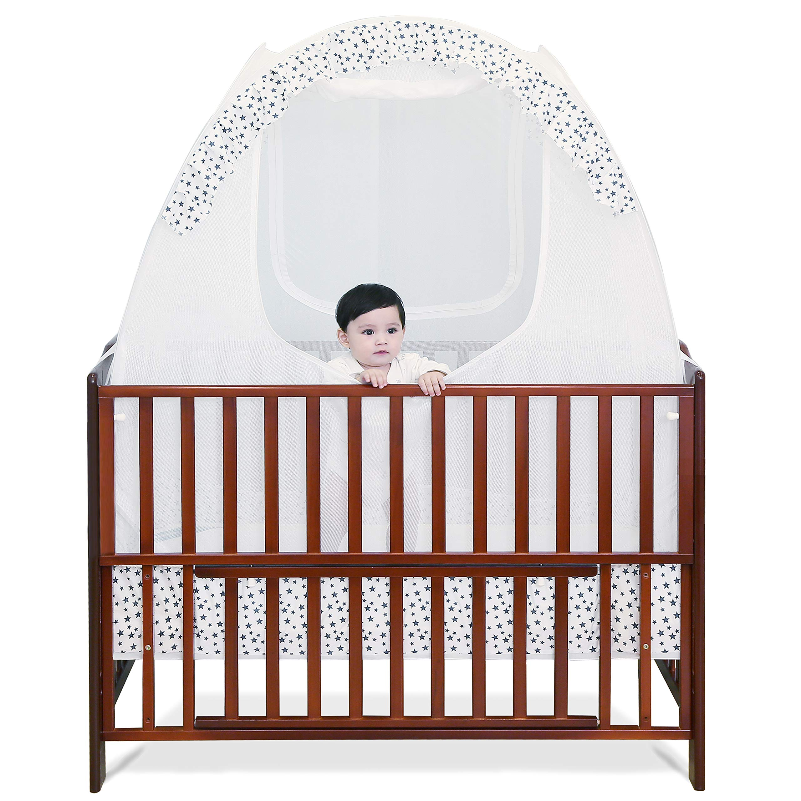 SDADI Baby Crib Safety Tent Pop Up Mosquito Net with Baby Monitor Hang Ribbon,Toddler Bed Canopy Netting Cover |Star WLCN01S by SDADI (Image #1)