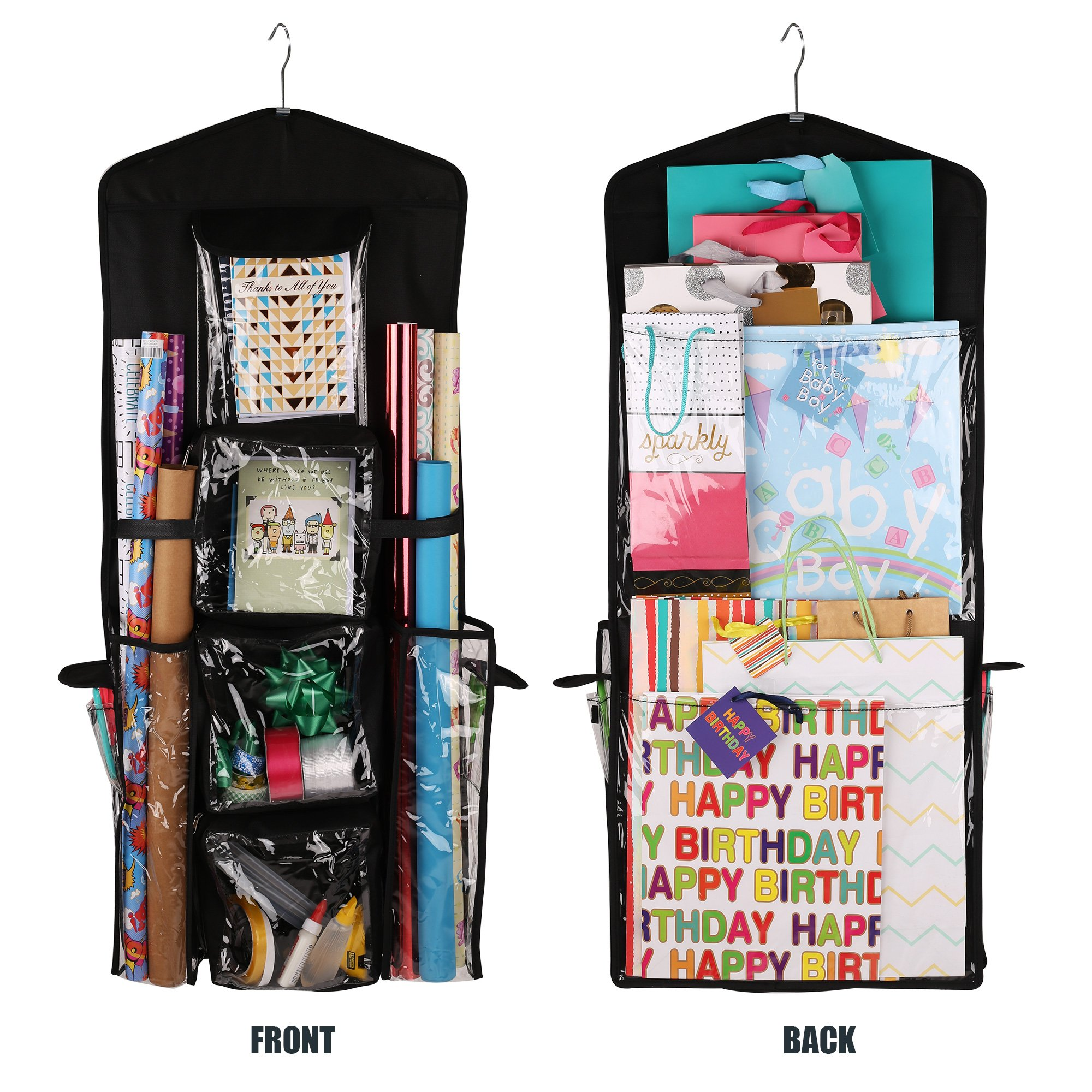 Regal Bazaar Double-Sided Hanging Gift Bag and Gift Wrap Organizer (Black) by Regal Bazaar