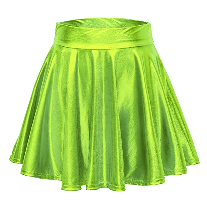 14b29aa3601db Urban CoCo Women's Shiny Flared Pleated Mini Skater Skirt (S, Candy Green)