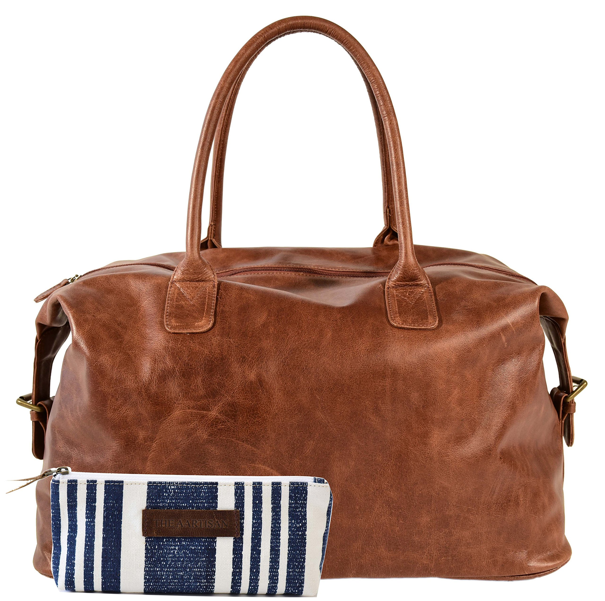 The Aartisan 21'' Handcrafted Genuine Leather Duffel Bag for Men Travel Weekend Bag (Brompton Cocoa), Free Gift Included, Multi Purpose Use