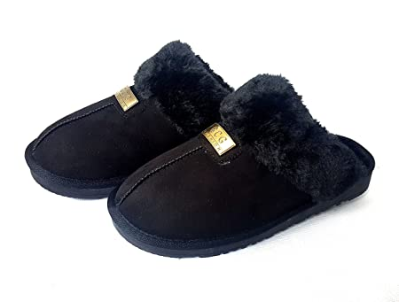 c2fdfd40c759 Geniune GCG Ladies Faux Sheepskin Slippers Mules Non Slip Hard Sole Womens  Black 7  Amazon.co.uk  Kitchen   Home