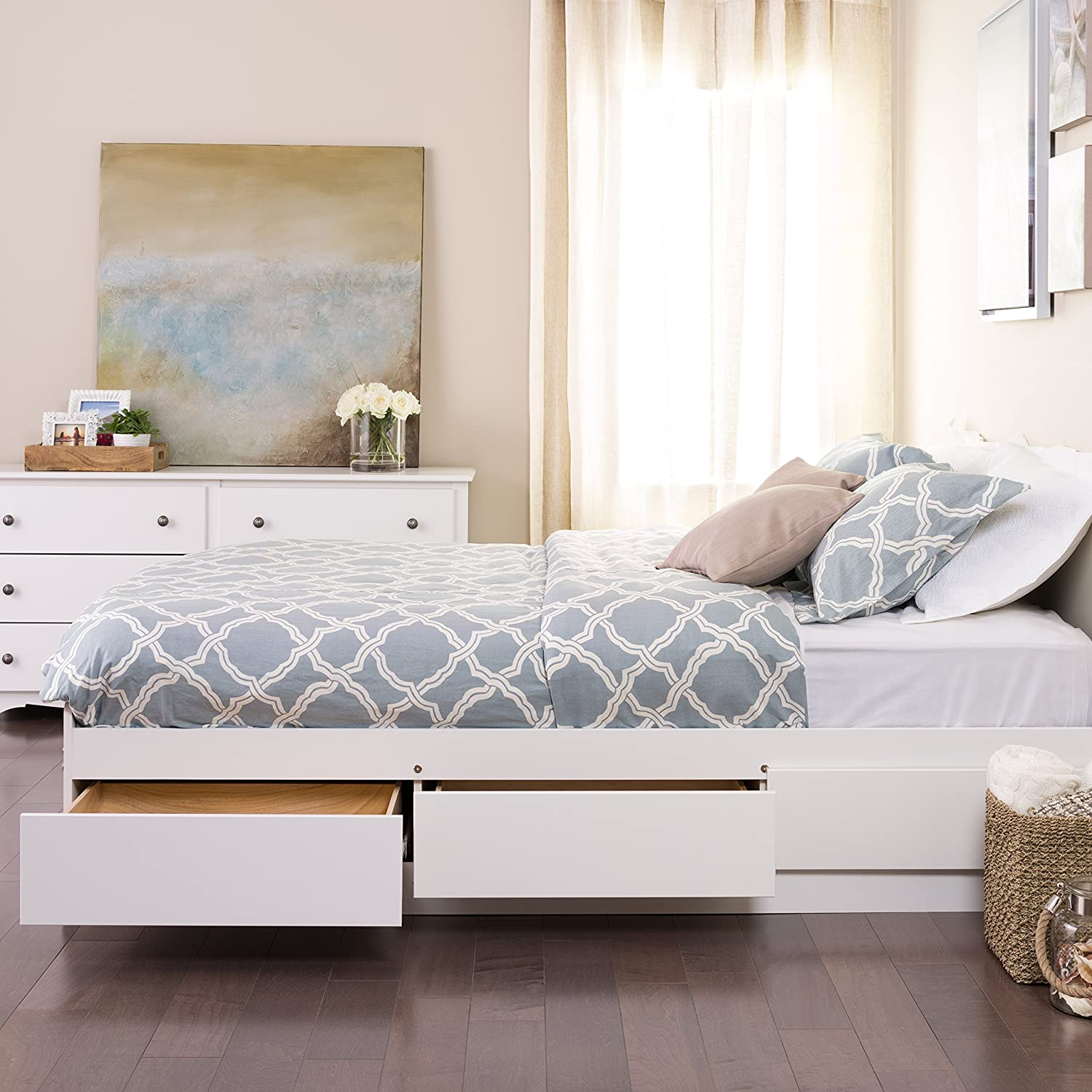 Amazon.com: White Queen Mateu0027s Platform Storage Bed With 6 Drawers: Kitchen  U0026 Dining
