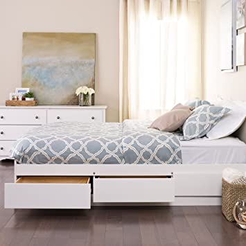Amazoncom White Queen Mates Platform Storage Bed With 6 Drawers
