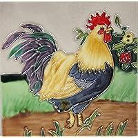 YH-Arts - Azulejo de Gallo de cerámica, Multicolor