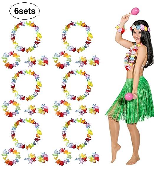 Guirnalda Hawaiana de flores para disfras 6 píezas.