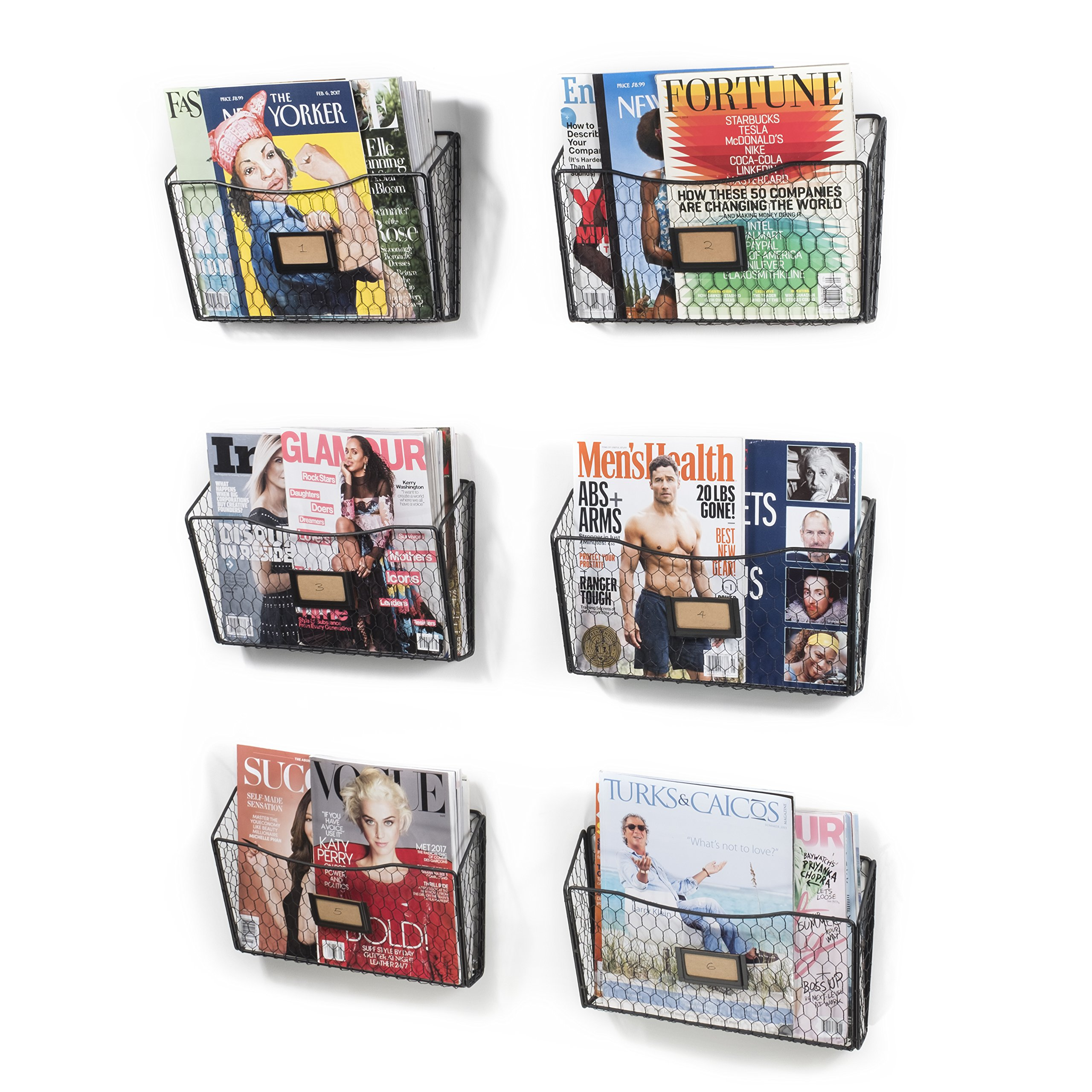 Wall35 Felic Hanging File Holder - Wall Mounted Metal Chicken Wire Magazine Rack - Office Folder Organizer with Name Tag Slot in Black (6)
