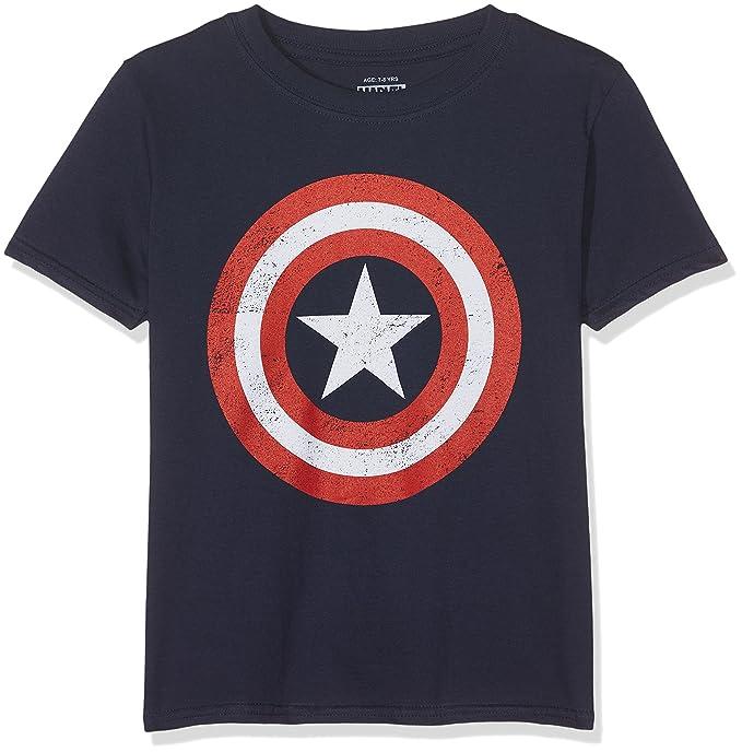 best service 1f887 06432 Marvel Boy s Captain America Retro T-Shirt, Blue (Navy), 7-