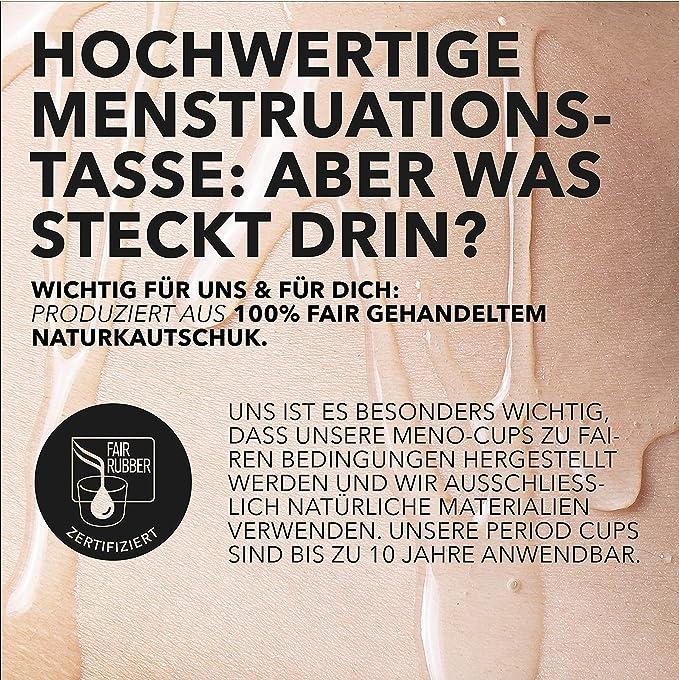 Loovara Copa Menstrual de Caucho Natural | 100% Vegana, Sin Silicona, Ecológico, Reutilizable, Muy Suave | Para Menstruación Normal o Abundante | ...