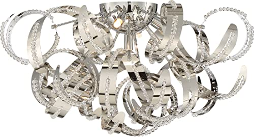 Quoizel RBN1622CRC Ribbons Platinum Modern Flush Mount Ceiling Lighting, 5-Light Xenon 200 Watts 11 H x 22 Dia , Crystal Chrome
