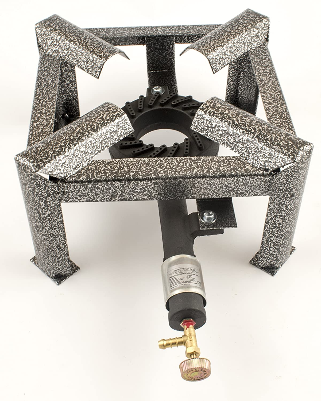6 kW hierro fundido estufa de gas solo quemador pequeño de GLP hirviendo anillo + Propan regulador Kit: Amazon.es: Jardín