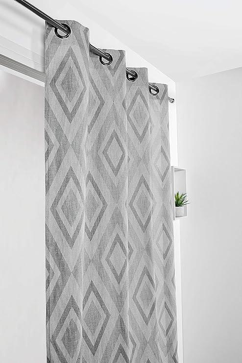 Linder - Cortina (poliéster, 21% algodón, 140 x 270 cm), Color Gris: Amazon.es: Hogar