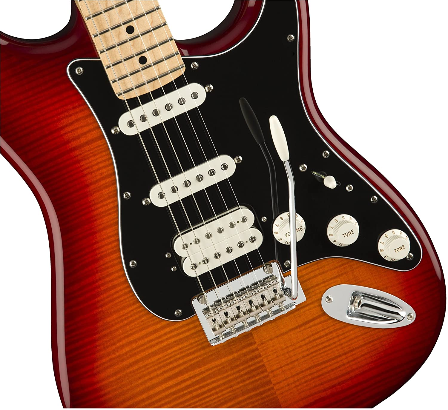 Amazon.com: Fender Player Stratocaster HSS Electric Guitar - Maple Fingerboard - Aged Cherry Burst - Plus Top: Musical Instruments