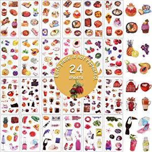 Journal Washi Stickers Set - 24 Sheets 250+ Fruit Caffee Food Meal Hawaii Decorative Washi Stickers for Diary, Album, Notebook, Bullet Journal, DIY Arts and Crafts, Calendars(Food TRAVELOGUE)