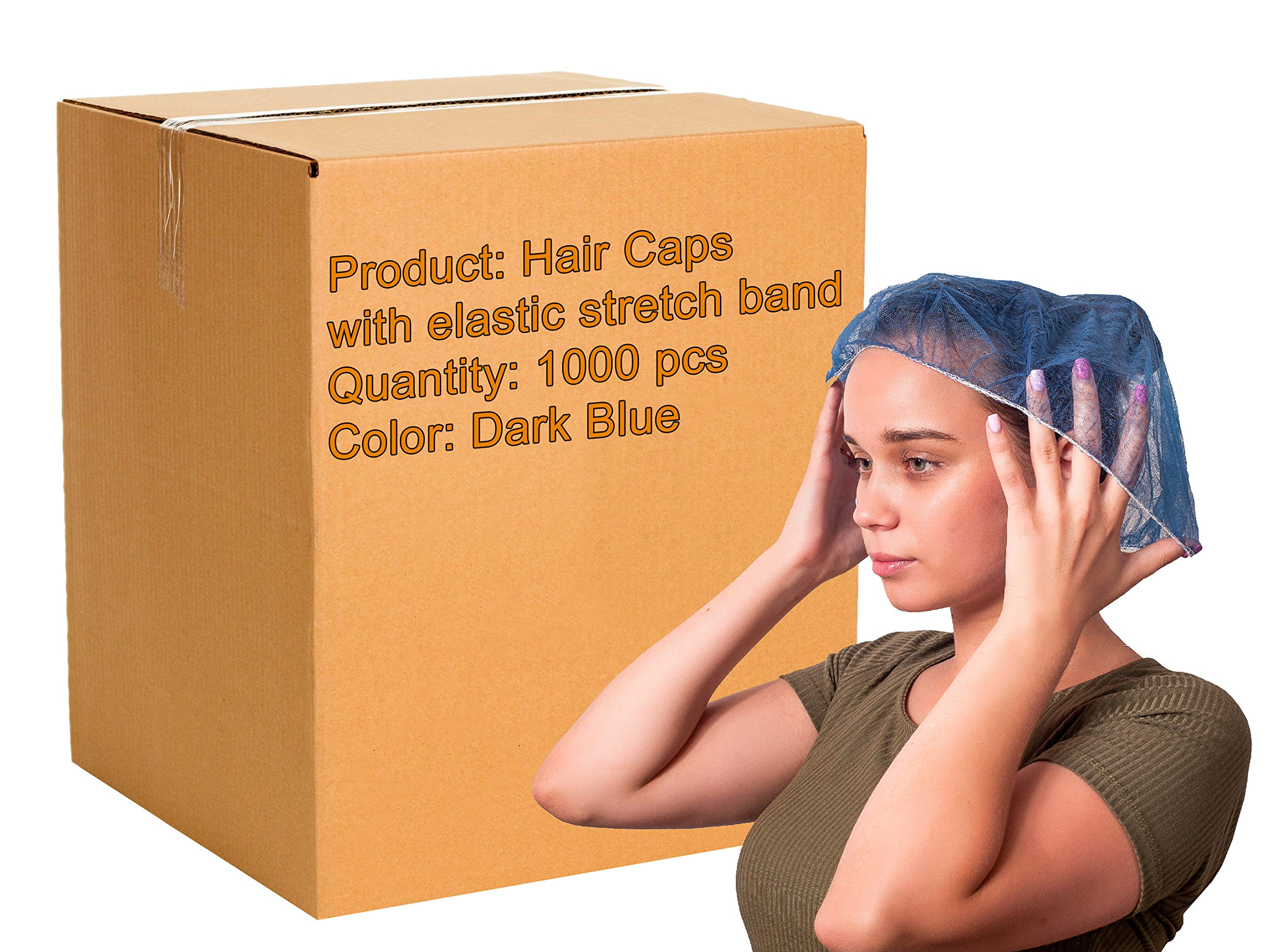 1000 Pack Dark Blue Bouffant Caps 21''. Hair Caps with elastic stretch band. Disposable Polypropylene Hats. Unisex Protective Hair Covers for food service, medical use. Breathable, Lightweight. by ABC Pack & Supply