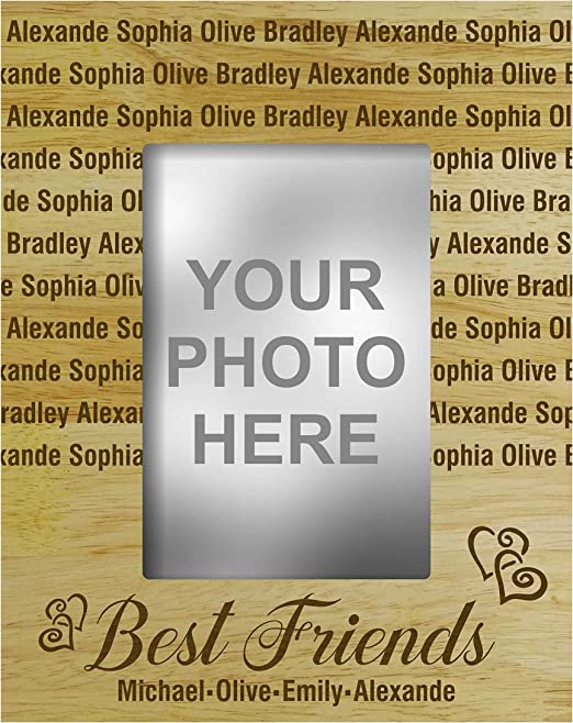 Amazon Com Darling Souvenir Personalized Best Friends Engraved Wood Picture Frame With Name 4 X 6 Inches Vertical Customizable Friendship Day Gift
