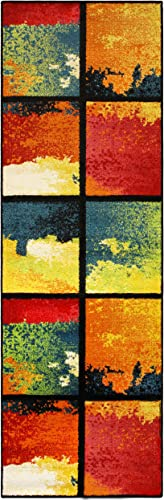 Superior Painted Cubes Collection, 6mm Pile Height with Jute Backing, Quality and Affordable Area Rugs, 2 7 x 8 Runner – Multi Color