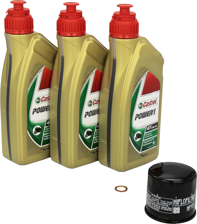 Castrol Power1 10w 40 Ölwechsel Set Suzuki Burgman 650 Executive Abs An 650 Bj 04 13 Motoröl Hiflo Ölfilter Und Dichtring Auto