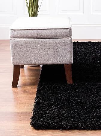 Black Shag Rug 8 Feet By 10 8x10 Solid Thick