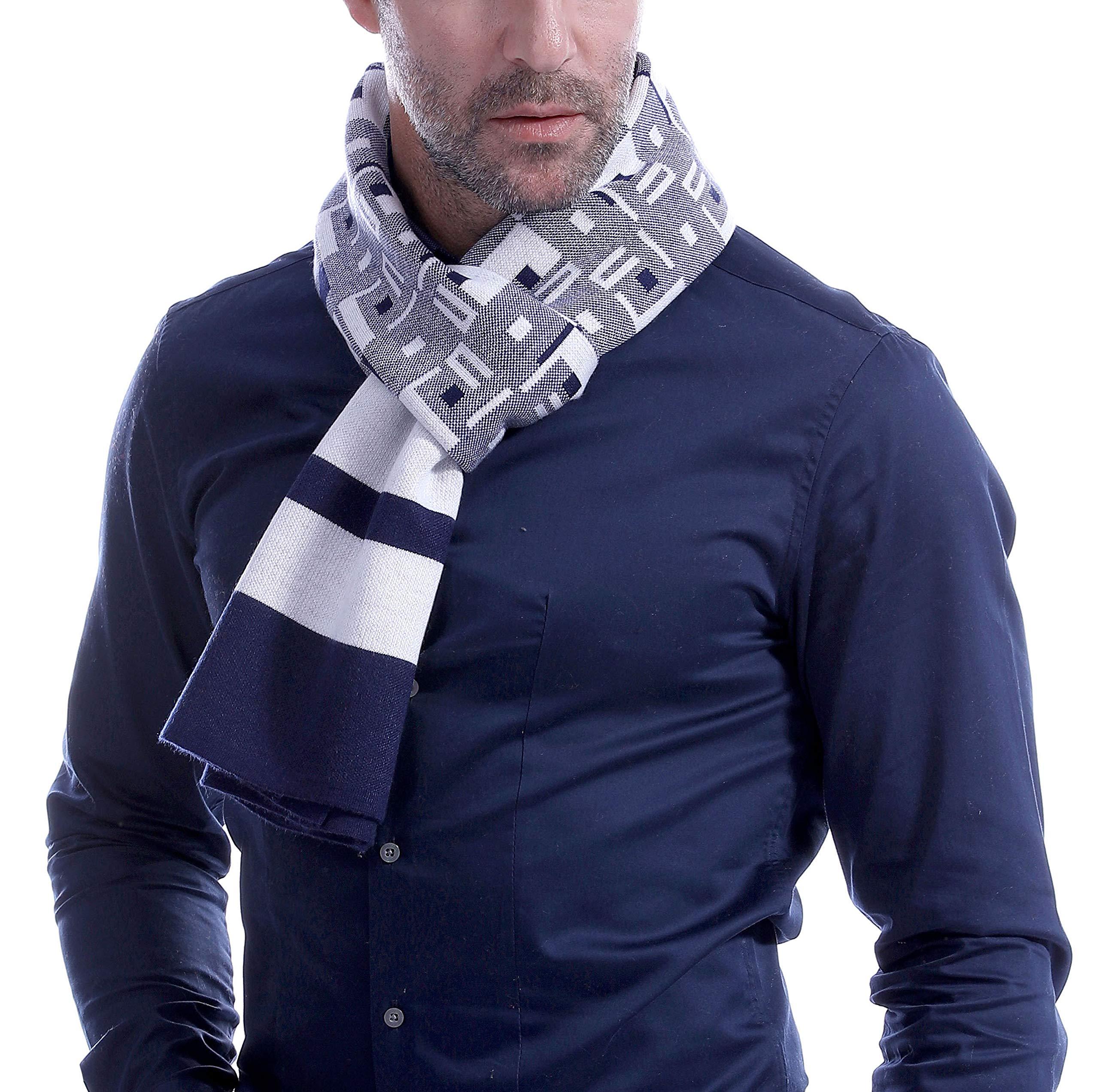 Runtlly 100% Wool Mens Scarf Winter Fashion Warm Scarfs LS0150-1 BlueWhite