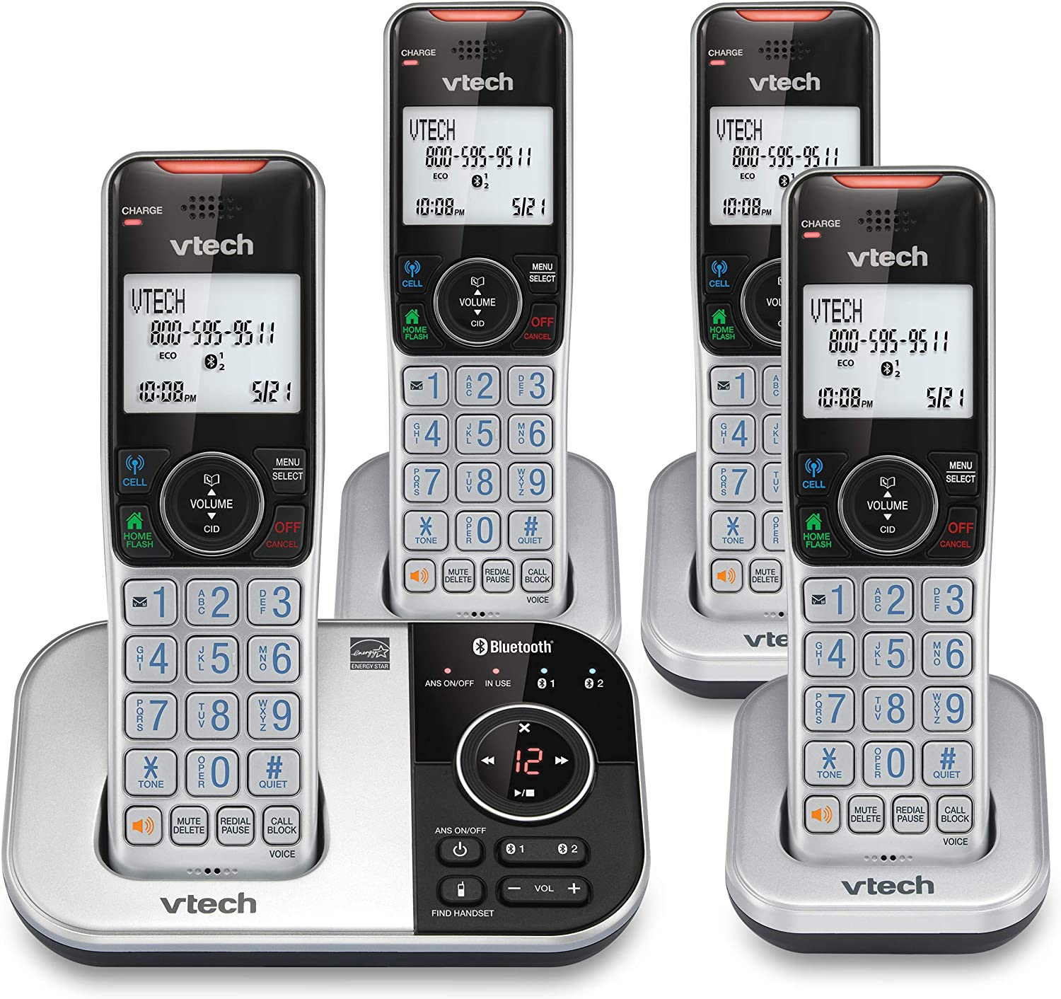 VTECH VS112-4 DECT 6.0 Bluetooth 4 Handset Cordless Phone for Home with Answering Machine, Call Blocking, Caller ID, Intercom and Connect to Cell (Silver & Black)