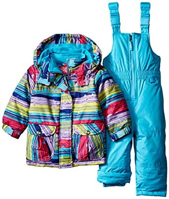 483024d1d Amazon.com: Rugged Bear Baby Girls' AO Striped Coat and Snowsuit Two-Piece  Set: Clothing
