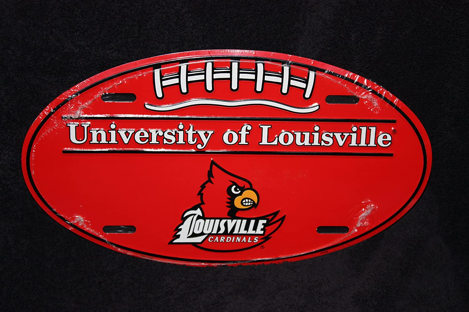 NCAA Louisville Cardinals Embossed White Metal License Plate Auto Tag Sign