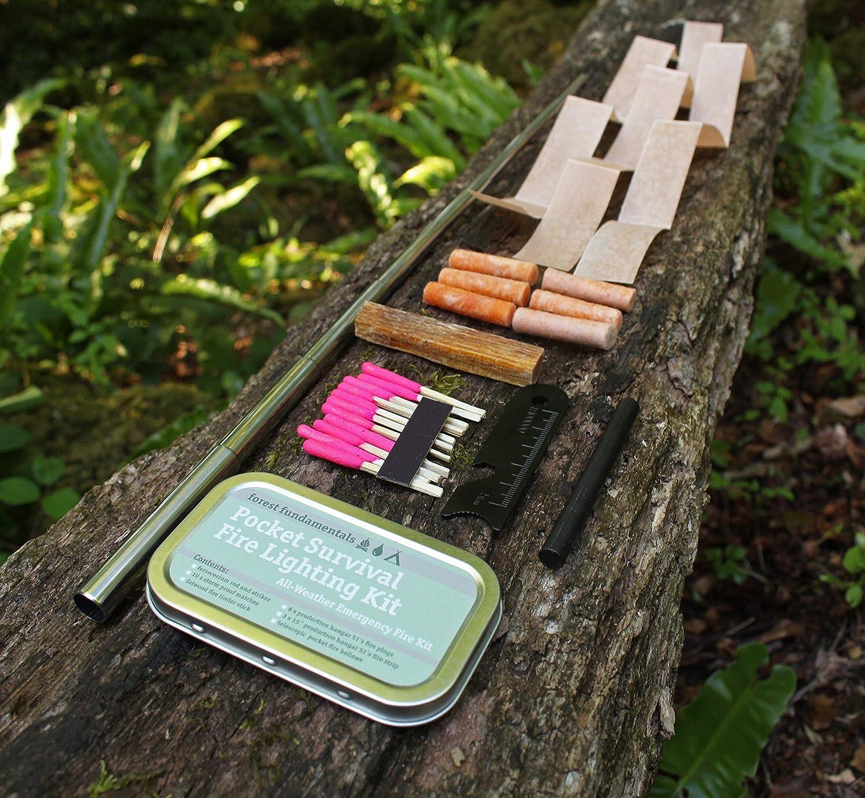 Tinder allumettes /étanches Forest Fundamentals Kit dincendie de Poche Soufflet t/élescopique Bois de Gras kit de Survie Bushcraft Rod