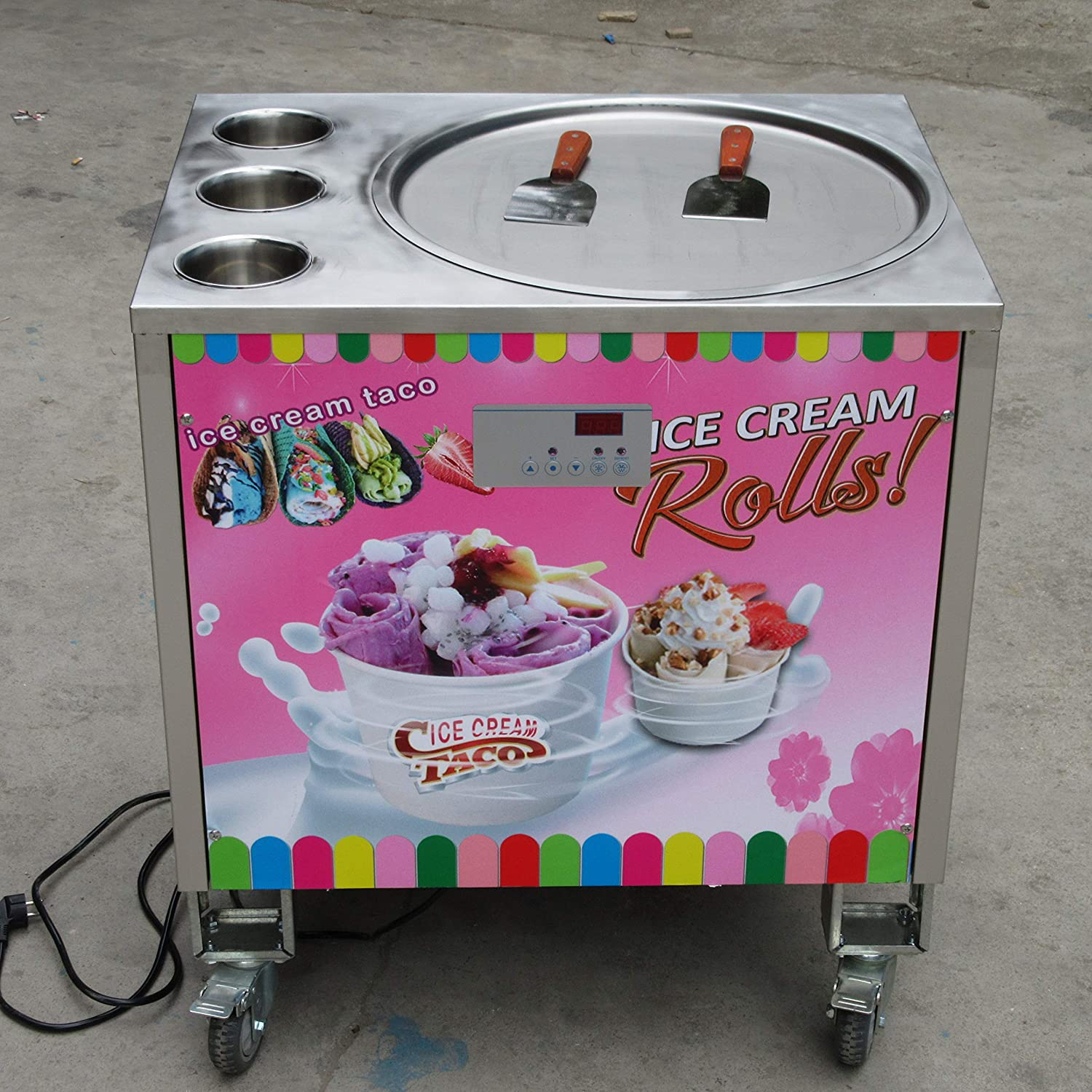 20 inches single round ice pan +3 tanks fried ice cream machine instant fry ice cream machine ice cream roll machine ice pan machine with refrigerant,AUTO DEFROST,PCB of smart AI temp. controller