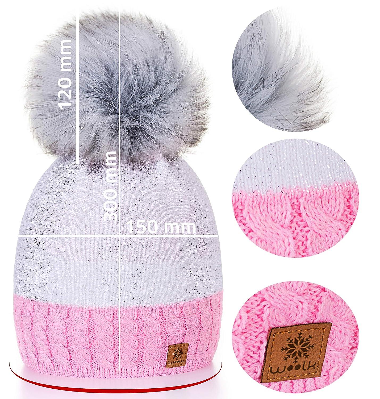 Sombrero de las Mujeres Gorro de invierno de para mujer con y pomp/ón multicolor C/írculo de Oro Silver 4sold