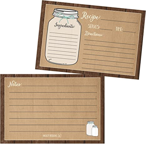 Kitchenalia Designs 1 Pack of 10 Printed Both Sides Recipe Cards