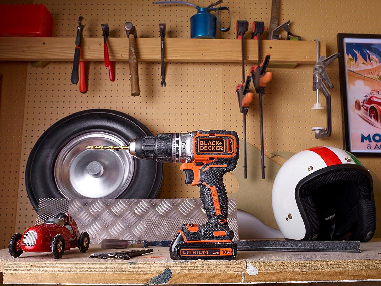 18 V 1,5Ah, mit b/ürstenlosem 2-Gang-Getriebe, LED Arbeitslicht, 1 St/ück Black+Decker Akku-Schlagbohrschrauber BL188KB