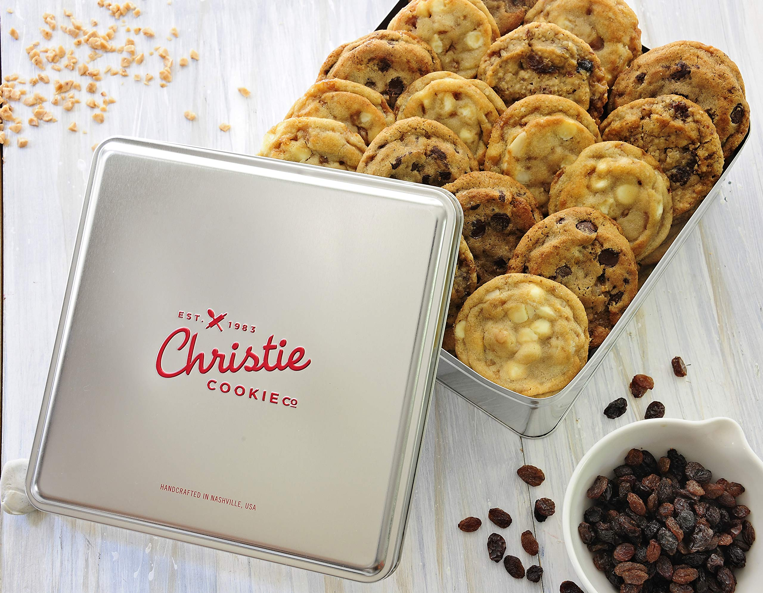 Christie Cookies, Gourmet Assorted Cookies, 24 Fresh-Baked Cookies in Silver Tin, No Added Preservatives, 100% Real Butter, Holiday & Corporate Gift Tin, Birthday Gift Idea for Men & Women