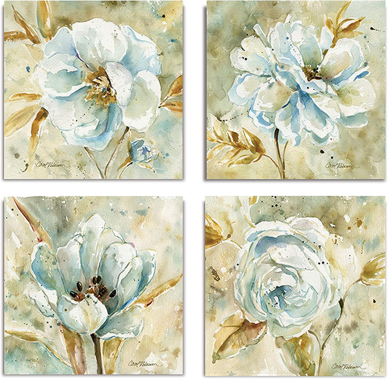 WEXFORD HOME Collection by Carol Robinson Set of 4 Gallery Wrapped Canvas Wall Art, 12x12, Dahlia/Frameless