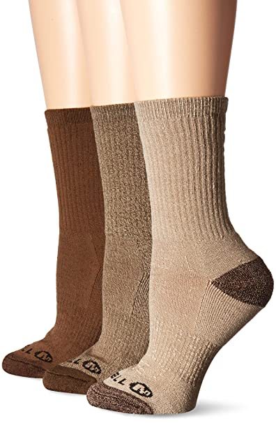 d37ce44ea5 Merrell Women's 3 Pack Cushioned Performance Hiker Socks , Assorted Olive  (Crew), Shoe