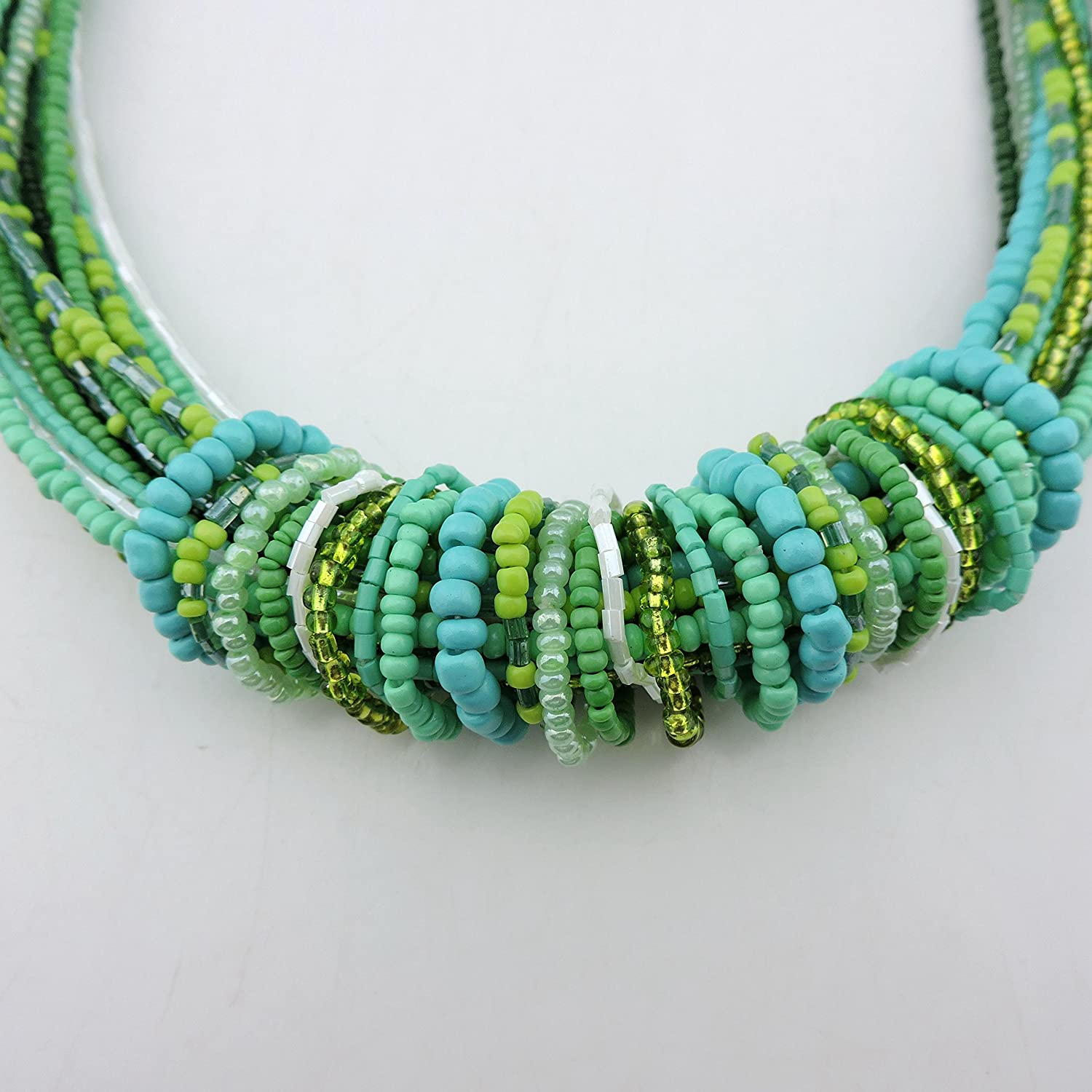 NK-10314 Bocar Chunky Statement Colorful Seed Beads Women Choker Collar Necklace