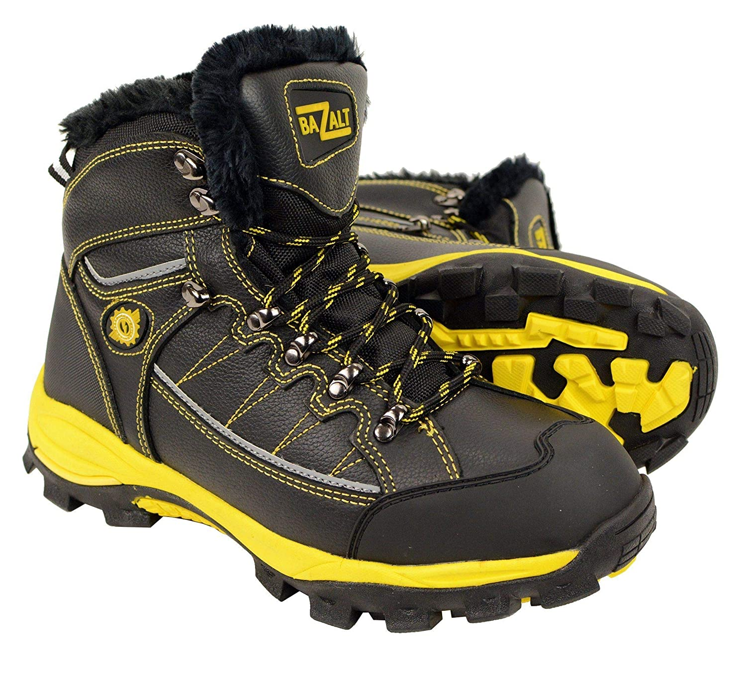 Bazalt-Men' s Black & Yellow Water & Frost Proof Leather Boots w/Faux Fur Lining-BLK/Yellow MBM9124-BLK/YELLOW