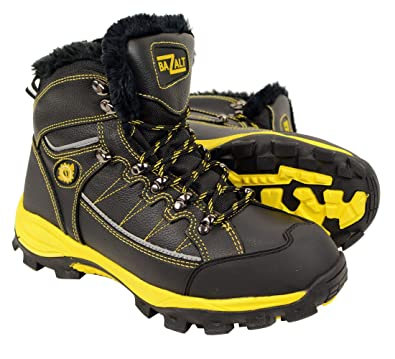 921d78203f8 BAZALT Men's Black & Yellow Water & Frost Proof Leather Boots w/Faux Fur  Lining