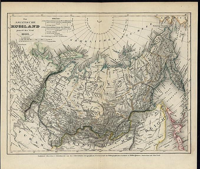 Asiatic Russia Ural Mountains Hokkaido 1855 old detail ...