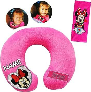 Alles Meine De Gmbh 2 Tlg Set Nackenkissen Nackenrolle Gurtpolster Disney Minnie Mouse Incl Name Kissen Für Auto Gurtschoner Autoschale Kindersitz Reis Spielzeug
