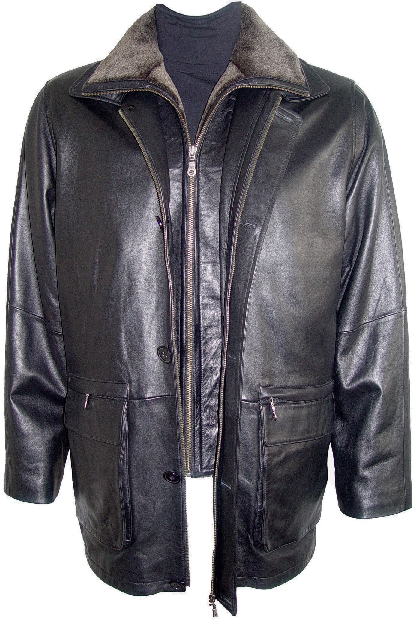 Paccilo Men 2002 Simply Tall Big All Size Lamb Leather Barn Coat