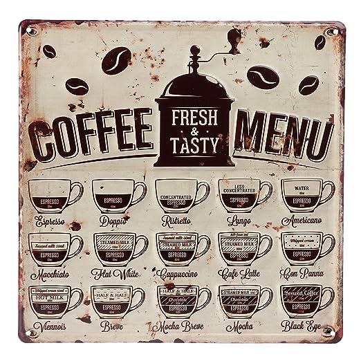 C & S Grande Vintage Retro Cartel de Chapa, Modelo Coffee ...