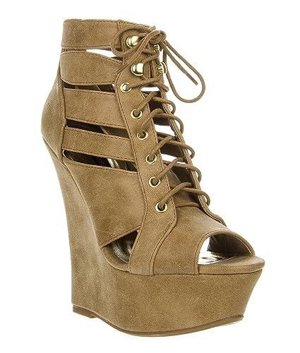 Amazon.com | Dollhouse Women's Lace Up Strap Platform Wedge Heel ...