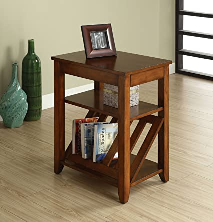 Amazon.com: Furniture Of America Rust Side Table With Magazine Rack, Antique  Oak: Kitchen U0026 Dining