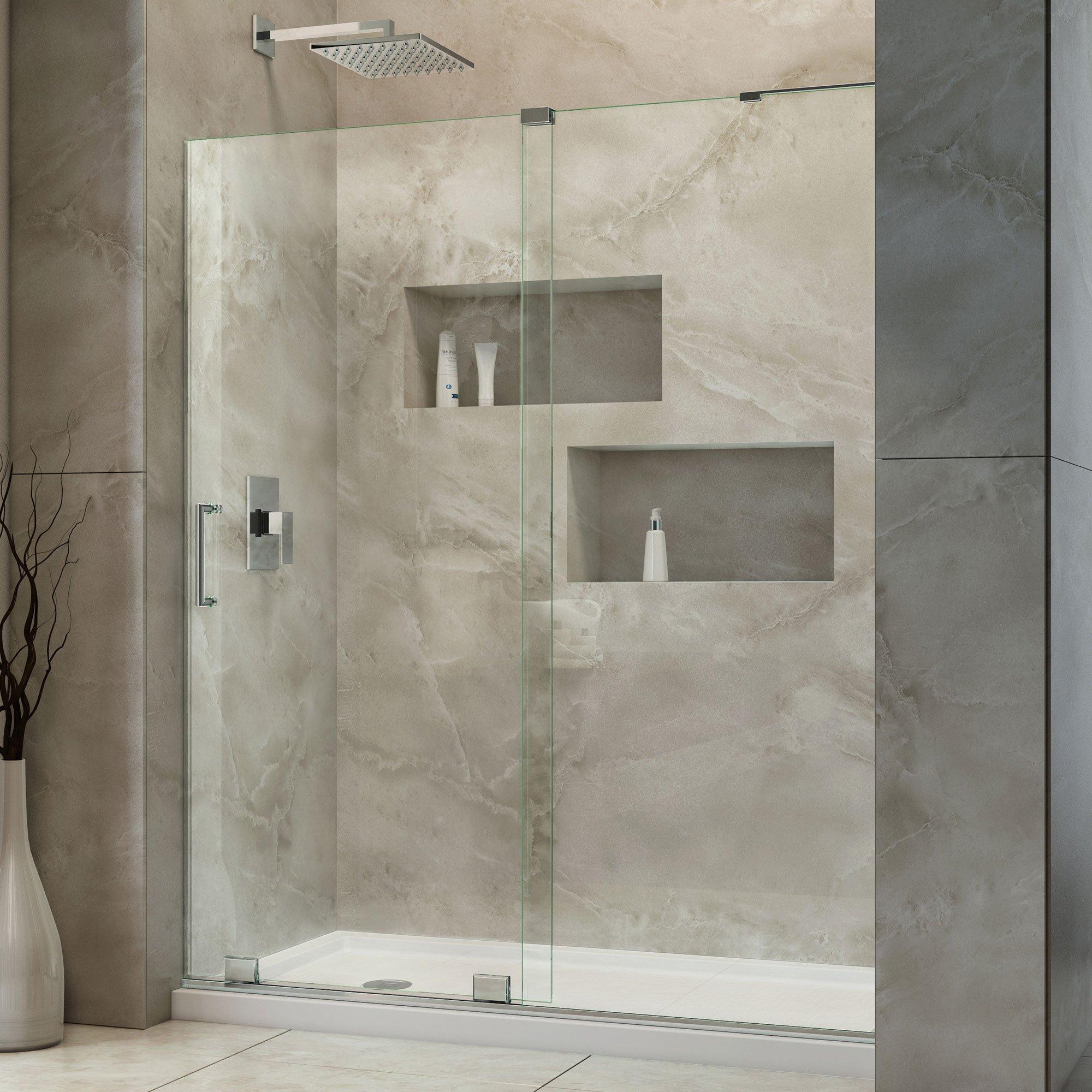 DreamLine Mirage-X 56-60 in. Width, Frameless Sliding Shower Door, 3/8'' Glass, Brushed Nickel Finish by DreamLine (Image #9)
