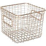 Alchemade Contemporary Industrial Style Wire Storage Basket - Hand-Made Multi-Purpose Office Kitchen Organizer Holder Bin