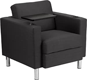 Flash Furniture Charcoal Gray Fabric Guest Chair with Tablet Arm, Tall Chrome Legs and Cup Holder