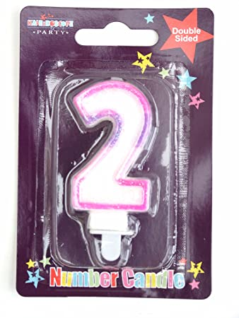 Simon Elvin Age 2 Second Birthday Cake Candle Pink Number Decoration Se