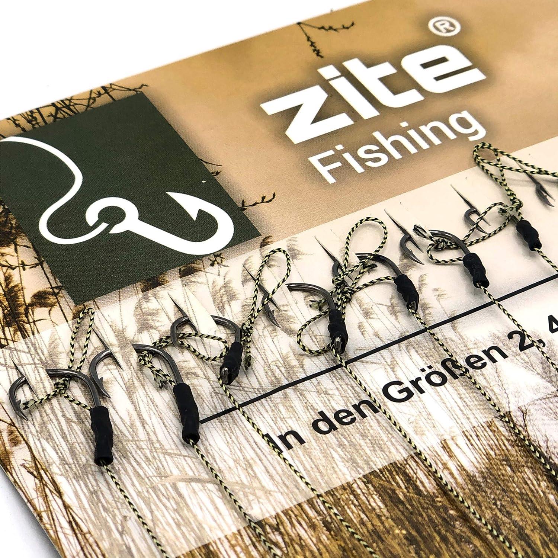 Zite Fishing Karpfen-Rigs Set 10 Gebundene Vorf/ächer Boilie-Angeln Geflochtene Angel-Schnur und Haken #2-10