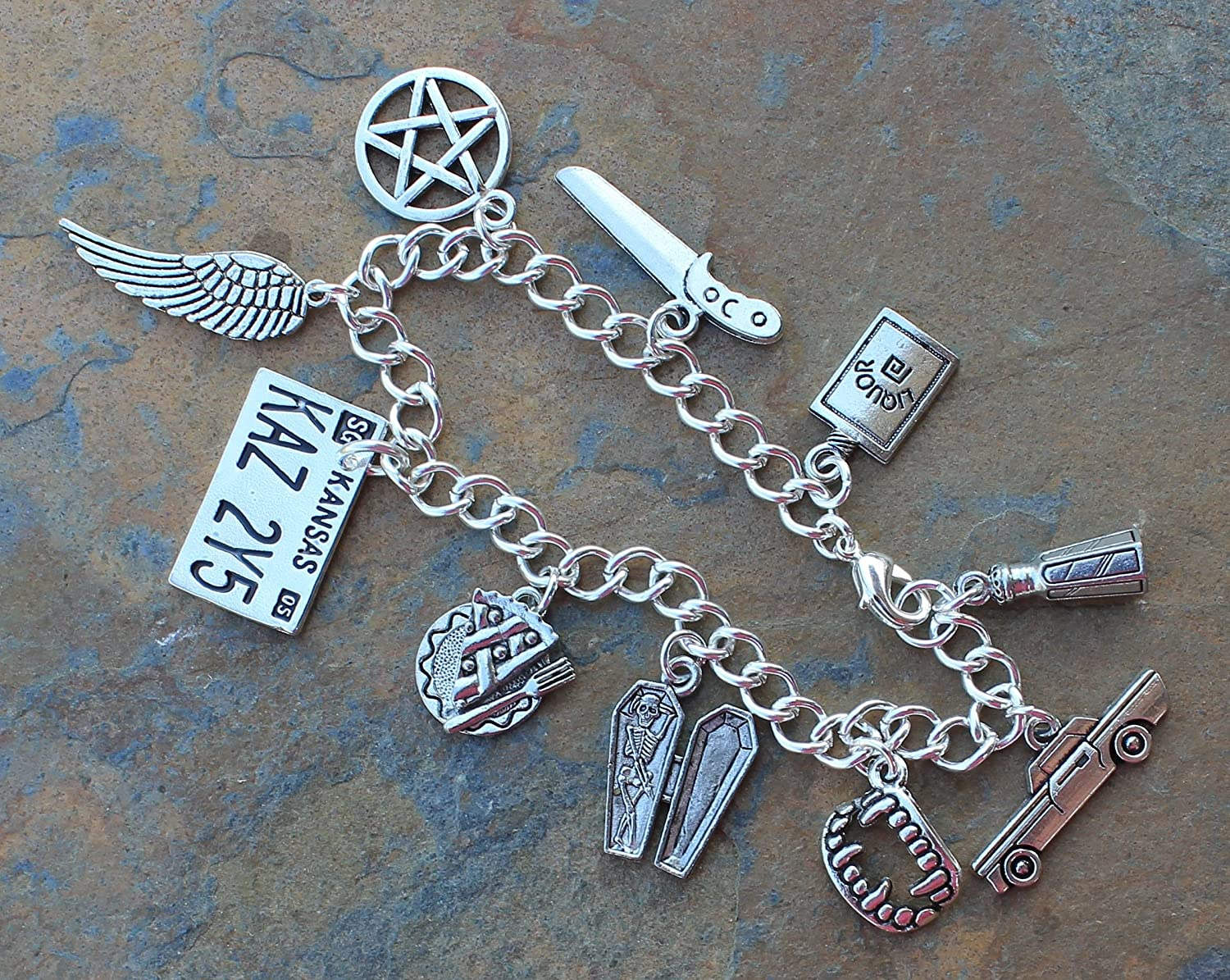 Night Owl Jewelry Supernatural Charm Bracelet Pewter Charms Silver Plated Chain Sizes XS to XL Demon Hunters Handmade