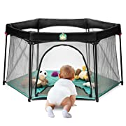 Pack and Play Portable Playard Play Pen for Infants and Babies - Lightweight Mesh Baby Playpen with Carrying Case - Easily Opens with 1 Hand [Turquoise]